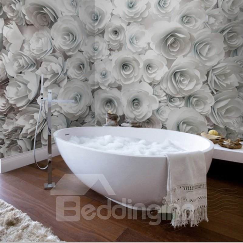 White romantic roses pattern design decorative waterproof for 3d wallpaper for bathroom