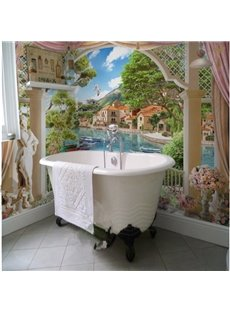 House by the Riverside Natural Scenery Pattern Waterproof 3D Bathroom Wall Murals