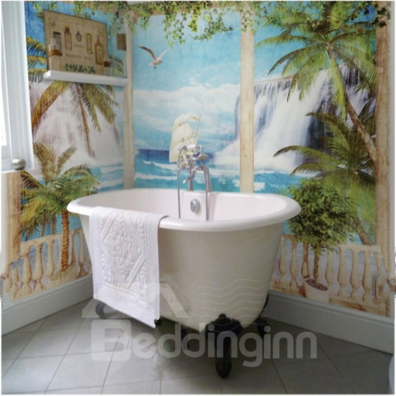 Coconut palms and seaside scenery modern style waterproof for Bathroom 3d wallpaper