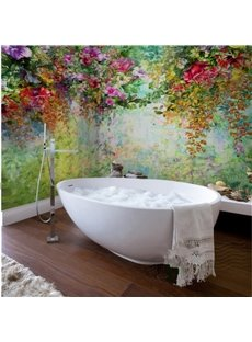 Gorgeous Flowers and Trees Pattern Waterproof 3D Bathroom Wall Murals
