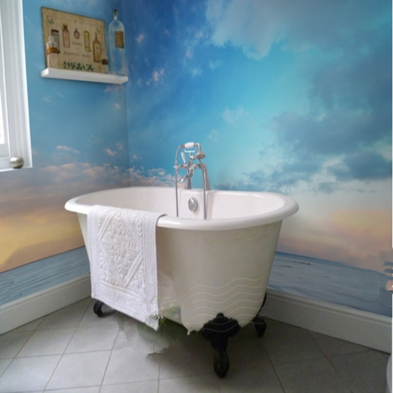 Amazing sunset sky and sea scenery pattern waterproof 3d for Bathroom wall mural ideas