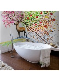 American Country Style Colorful Sika Deer Pattern Waterproof 3D Bathroom Wall Murals