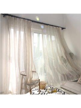 Modern Style Cotton and Linen Blending Custom Sheer Curtain