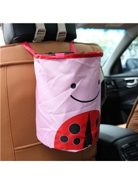 Pink Beetle Pattern High Capacity Oxford Cloth Material Car Trash Can