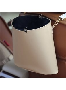 High Capacity Beige Durable PU Material Hanging Style Car Trash Can