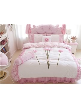 Romantic Flower Pattern Lace Style 4-Piece Duvet Cover Sets