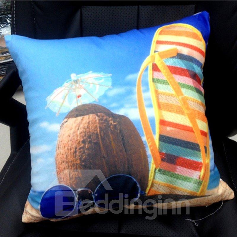 Attractive Beach Landscape Print Polyester Throw Pillow - beddinginn.com