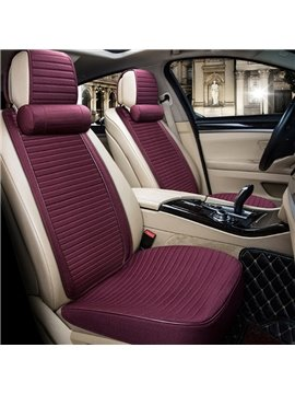 Textured Fashion Rafi Red Design With Good Permeability Flax Material Universal Car Seat Cover