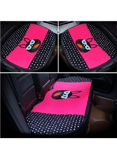 Cool Cartoon Black Rabbit Pattern Design 3-Pieces Front And Rear Car Seat Mat