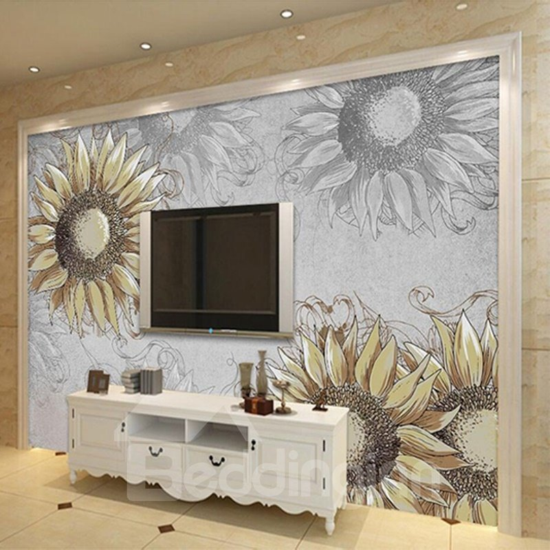 Decorative simple style sunflowers pattern waterproof 3d for Mural 3d simple