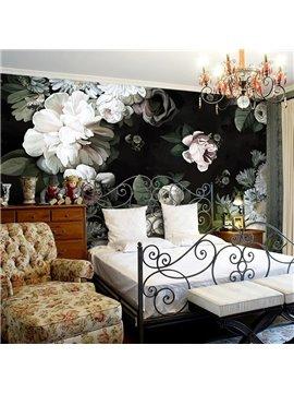 Elegant White Beautiful Flowers Pattern Waterproof 3D Wall Murals