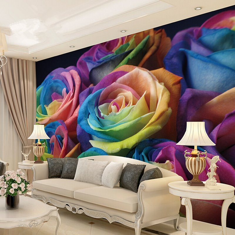 Beautiful Colorful Living Rooms: Romantic Colorful Roses Pattern Waterproof Splicing 3D