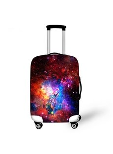 Bright Burgundy Galaxy Pattern 3D Painted Luggage Cover