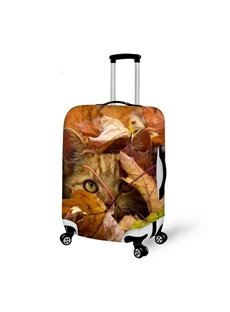 Creative Cat and Fallen Leaves Pattern 3D Painted Luggage Cover