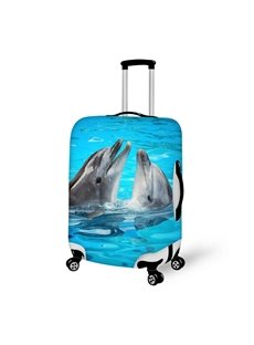 Lovely Dolphin Couple Pattern 3D Painted Luggage Cover