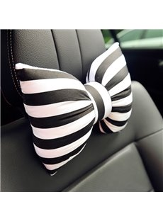 Beautiful Black And White Stripes Bow Design 1-Piece Single Car Headrest Pillow