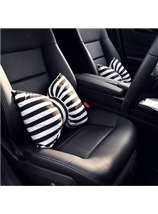 Beautiful Black And White Stripes Bow Design 1-Piece Lumbar Car Pillow