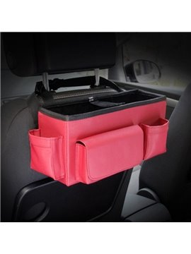 Bright Red Color High Capacity Durable PU Material Car Backseat Organizer