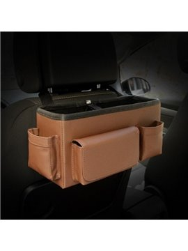 Classic Coffee Color High Capacity Durable PU Material Car Backseat Organizer