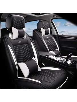 Fashion 3D Stereoscopic Type Durable PU Leather Material High-Grade Universal Five Car Seat Cover