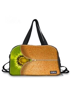 Zipper Kiwi Fruit Pattern 3D Painted Travel Bag