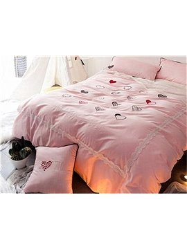Princess Style Hearts Pattern Pink Cotton 4-Piece Duvet Cover Sets
