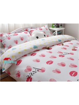 Lovely Lips and Hearts Pattern White Cotton 4-Piece Duvet Cover Sets