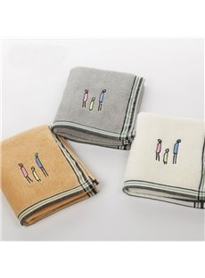 Cute Stick Figures Embroidery Cotton Face & Hand Towel