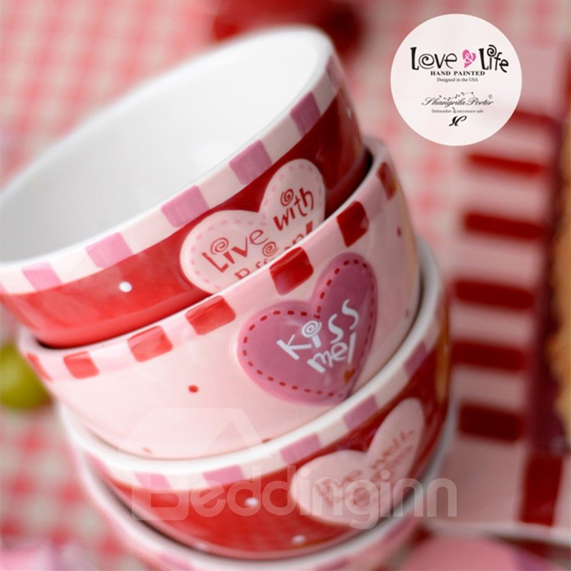 Pink and Red Ceramic Creative Heart Pattern Fashion Bowls Painted Pottery 12741515