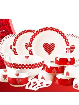 White and Red Ceramic Heart-shaped Pattern 22 Pieces Tablewares Painted Pottery