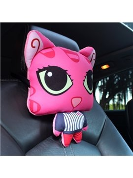 Charming Pink Cool Cartoon Cat Big Eyes Lovely Creative Car Pillow