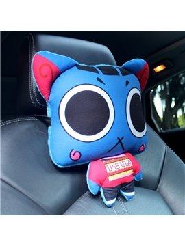 Blue Cool Cartoon Cat Big Eyes Lovely Creative Car Pillow