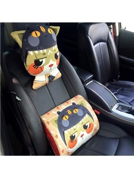 Sad Cartoon Cat Lovely Model Design 1-Piece Car Headrest Pillow