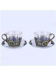Vintage European Style Enamels Design 2 Pieces Coffee Mug Sets