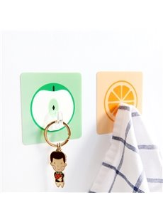 Nail Free Solid Glue 5-Pieces Fruit Design Bathroom Hooks