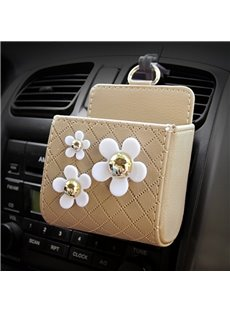 Exquisite High Grade Three Beautiful Flowers Car Outlet Organizer