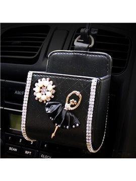 Textured High-Grade Luxury Elegant Ballet Girl Pattern Car Outlet Organizer