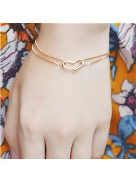 Amazing Double Layers Heart Design Alloy Bracelet