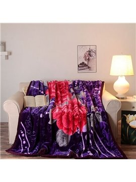 Noble Red Peonies Print Purple Raschel Blanket