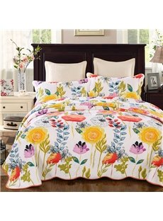 Bright Yellow Floral Print 3-Piece Cotton Bed in a Bag