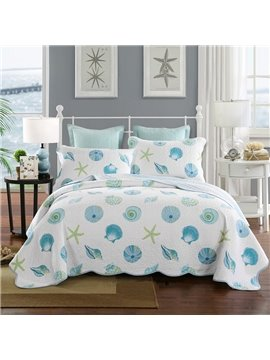 Gorgeous Conch and Starfish Print Cotton 3-Piece Bed in a Bag