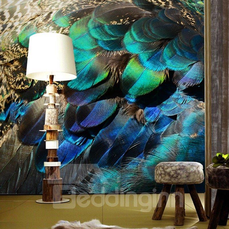 Vivid Modern Design Peacock Feather Pattern Waterproof 3d