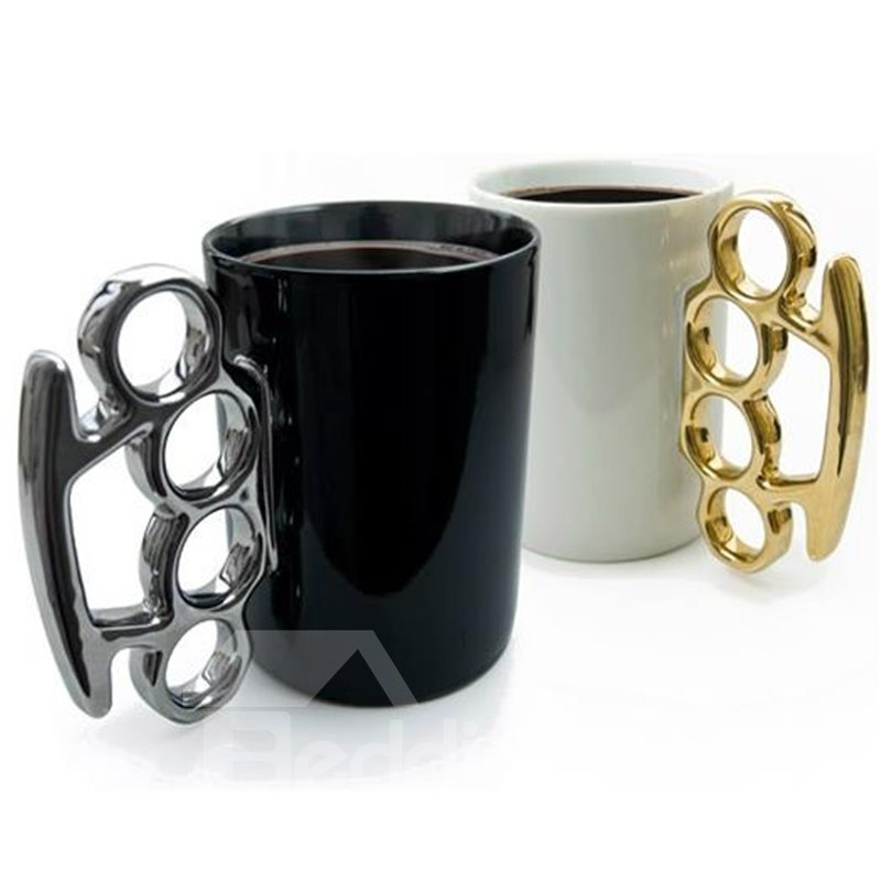 White and Black Unique Design Ceramic Fist Decoration Coffee Mugs 12743134