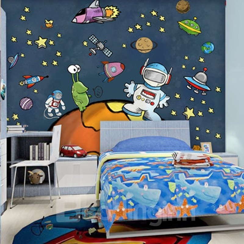 Simple style cartoon astronaut in space design waterproof for Mural 3d simple