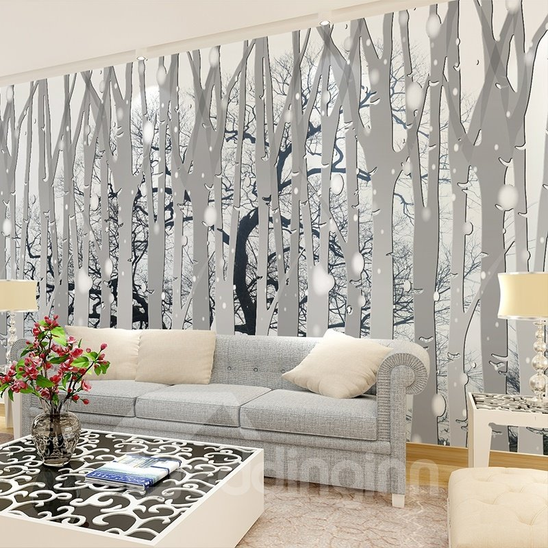 Amazing simple style forest pattern waterproof home for Mural 3d simple