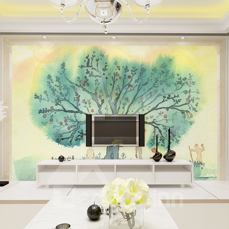Natural watercolor tree pattern simple style watercolor 3d for Mural 3d simple