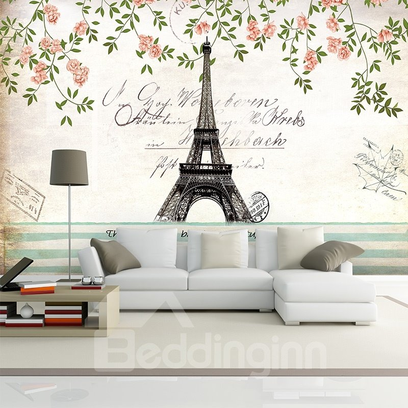 Charming eiffel tower paris scenery pattern waterproof 3d for Black and white paris wall mural