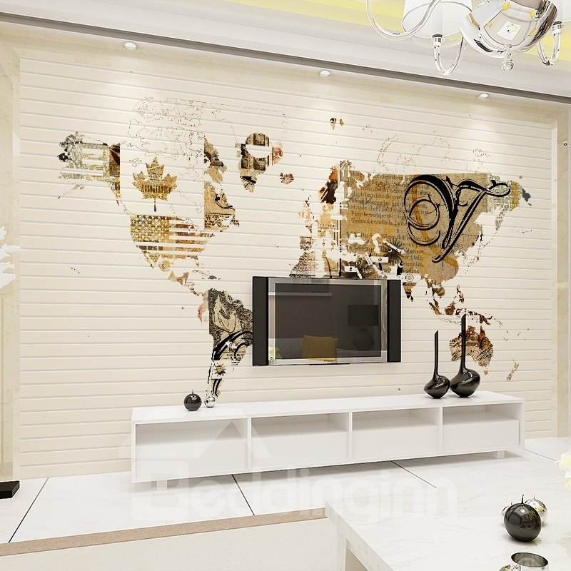 Classic design world map pattern decorative waterproof 3d for Classic world map wall mural