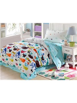 Cartoon Fishes Pattern 4 Pieces 100% Cotton Duvet Cover Sets