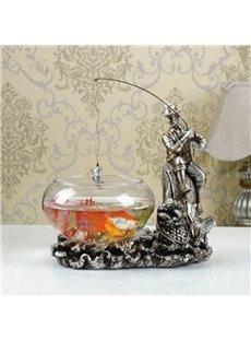 Fancy Design Fishing Cowboy Shape Fish Bowl Desktop Decoration